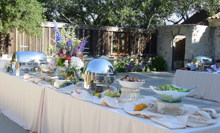 Holman Ranch Classic Catering buffet set up with chafers