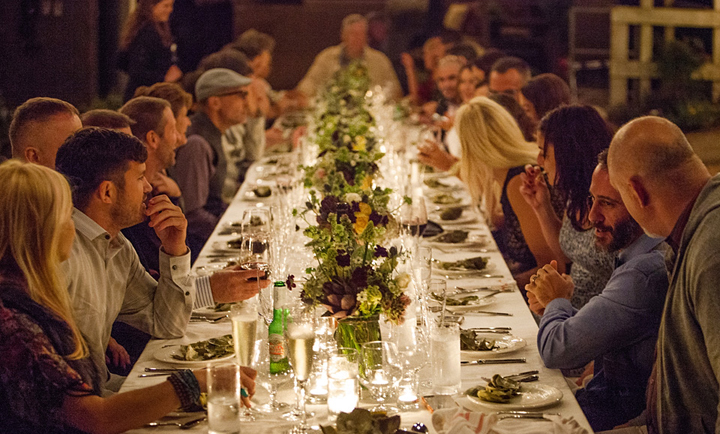 Classic Catering at a Private Country Farm Residence with Long tables and formal plate