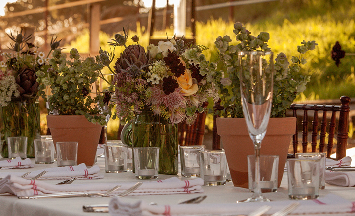 Classic Catering at Private Country Farm Residence with Long tables and white linens